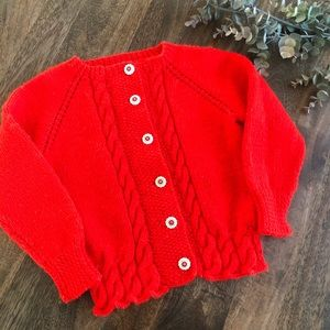 Vintage Handmade Bright Red Cardigan 5/6 years